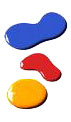 Ink dots colored blue red & yellow